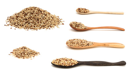 Raw brown rice isolated