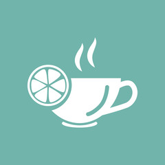 Cup of tea with lemon icon