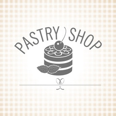 Confectionery. Pastry shop. Vector monochrome logo. Cake with ic