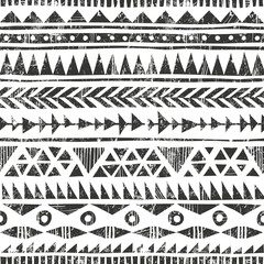 Vector hand drawn tribal print. Primitive geometric background in grunge style.