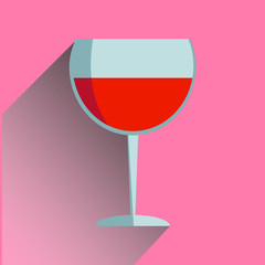 Image of glasses of wine which falls the shadow. flat design.