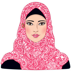Muslim girl dressed in pink-white hijab.