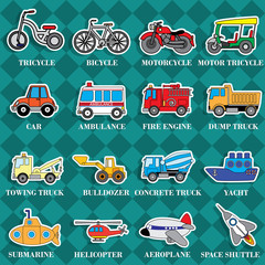 Cute vehicle types in sticker style on square graphic