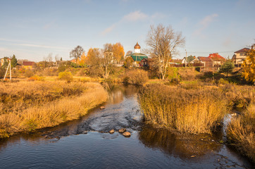 "Beautiful autumn river landscape. River ""Pskova"" Pskov."