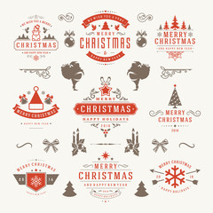 Merry Christmas And Happy New Year Wishes Typographic Labels and Badges set