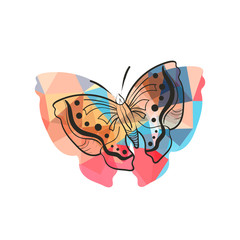 Modern flat design with origami butterfly