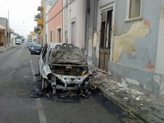 burned car on the street