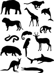 Collection of black silhouettes of wild animals