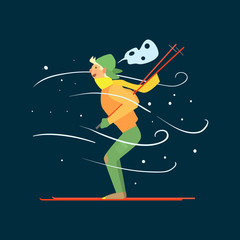 Young Boy Skiing. Vector Illustration