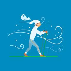 Man Skiing with Sticks. Vector Illustration