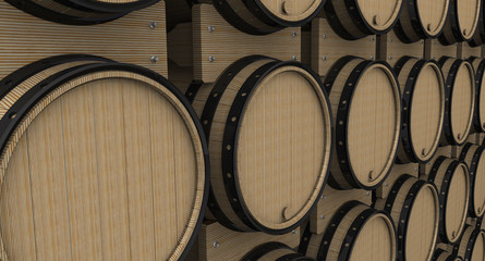 Oak barrels in a row. The three-dimensional illustration