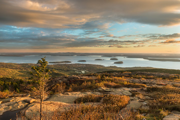 Fototapete - Autumn Sunrise from Cadillac Mountain in Maine