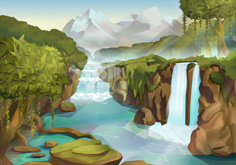Tuinposter Pool Forest and waterfall, nature landscape vector background