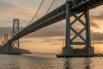 Oakland Bridge at dawn in San Francisco