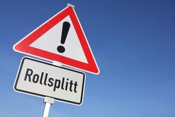 Deutsches Verkehrszeichen: Gefahrstelle, Rollsplitt