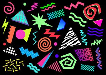Formes abstraites et couleurs fluo des années 80