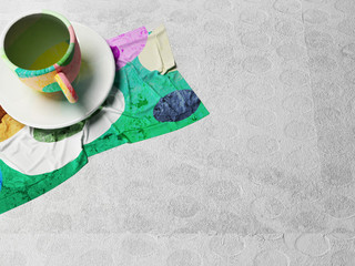 colored cup on the napkin