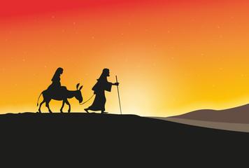 Keuken foto achterwand Roze Maria und Joseph vor Sonnenaufgang