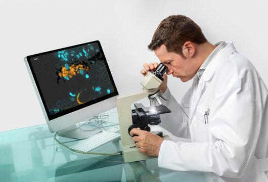 Senior male microscopist