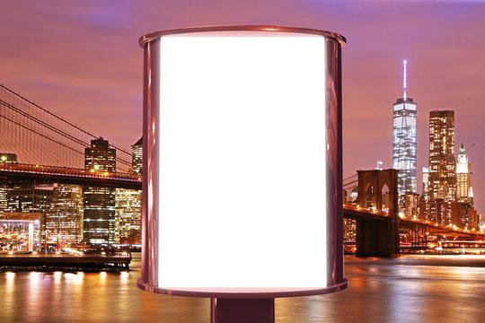 Blank billboard on the night city backgound, mock up