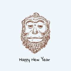 Chimpanzee monkey cute sketch. Merry Christmas and  beard Happy New Year vector illustration for placard design, posters, fashion print and textile