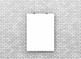 brick wall texture background image. Realistic regular pattern image. White gray light color.