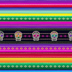 Seamless ethnic mexican fabric pattern with colorful stripes and Catrina`s skull. Repeat straight blue, black, red, green, yellow, violet stripes texture background, vector.
