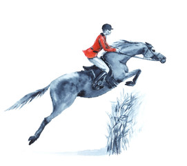 Watercolor rider and horse, jumping a hurdle in forest on white. Horseman in red jacket at jumping steeplechase competition. England equestrian sport. Hand drawing illustration.
