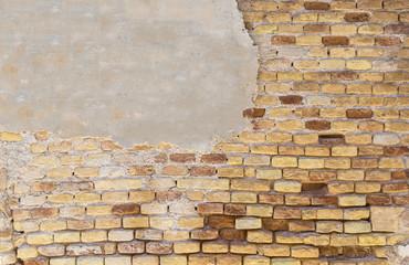 Damaged grunge brick wall texture background