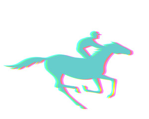 Jockey and horse with CMYK halftone effect.