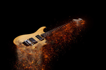 Electric Guitar in fire Isolated on Black