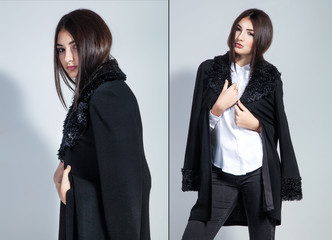 Fashion photo of young woman in trendy cardigan and black jeans