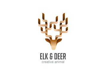 Head Elk Logo abstract geometric design vector. Deer icon