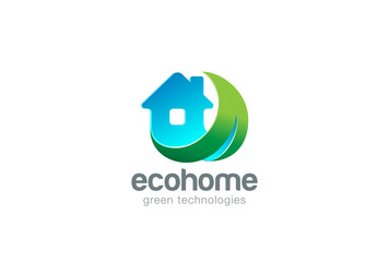 Eco House Logo design vector template. Living Nature Logotype