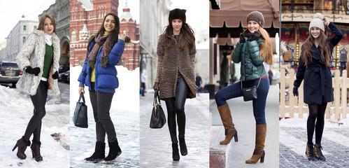 Collage winter fashion. Young beautiful women