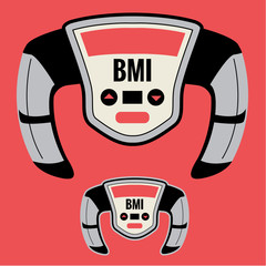 BMI Machine that Measures your Fatness or Pudge Factor, including Chunky Large Obesity Level based on your Height to Weight Ratio. Can Help Improve your Health by Knowledge of Body Mass Index Number.