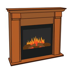 Realistic Wooden Electric Artificial Fireplace with Orange and Yellow Fire Flame Interior w/ Fake Firewood for the Environment Conscious Lumbersexual Man or Hipster to Keep Warm in his Manly Man Cave