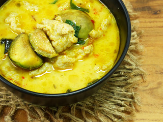 thai cuisine green curry with fish ball