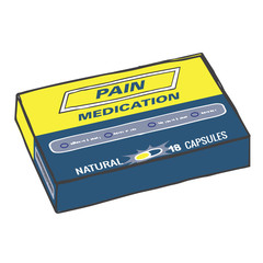 Pain Medication Box for when you Get Hurt on the Job or Have Back Pain or Even a Simple Headache. The Capsules, Gel Tabs, or Tablets will Help You Feel Healthy and Strong. This Drug Relieves Pain!