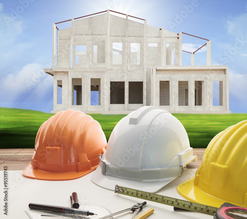 """""""architect working table and home construction background ..."""