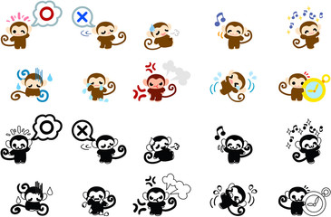 Icons of cute monkeys part 1
