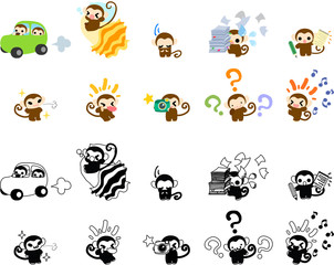 Icons of cute monkeys part 2