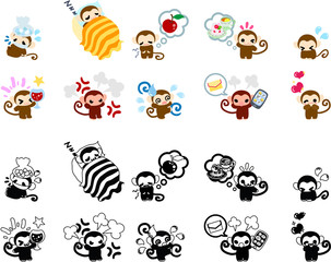 Icons of cute monkeys part 3