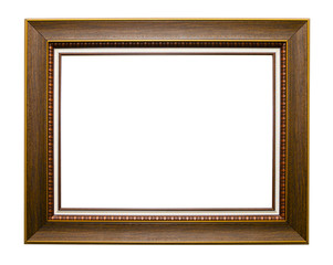 wooden vintage photo frame isolated on white background