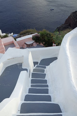 steps and stairs in oia village on santorini island