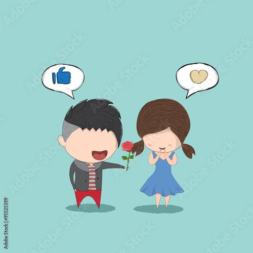cute cartoon boy give rose girl cute valentines day card draw