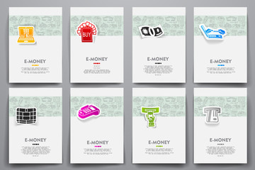 Corporate identity vector templates set with doodles e-money theme
