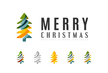 Set of abstract Christmas Tree Icons, business logo concepts, clean modern glossy design