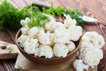 Fresh organic cauliflower cut into small pieces