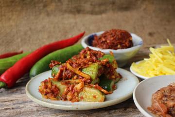 Cucumber kimchi korean food